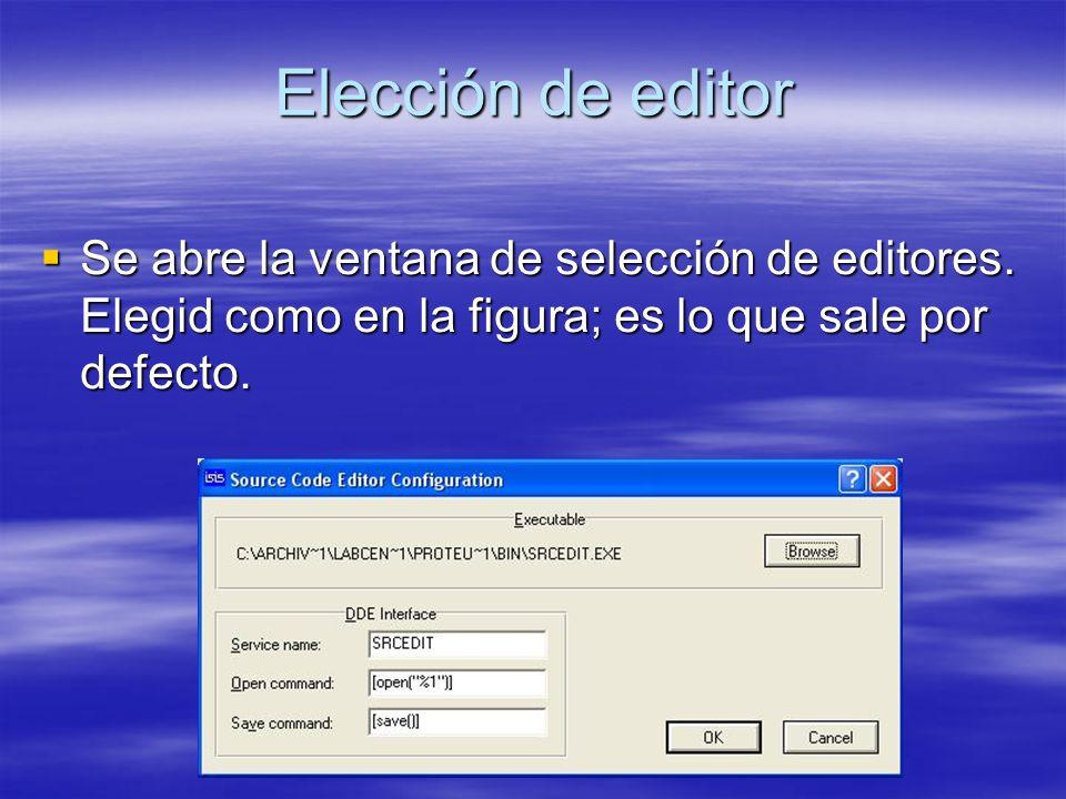 Elección de editor Se abre la ventana de selección de editores.