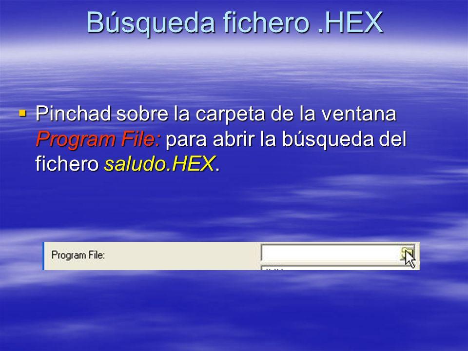 Búsqueda fichero .HEX Pinchad sobre la carpeta de la ventana Program File: para abrir la búsqueda del fichero saludo.HEX.