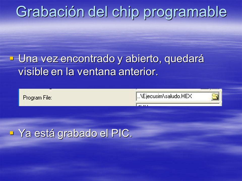 Grabación del chip programable