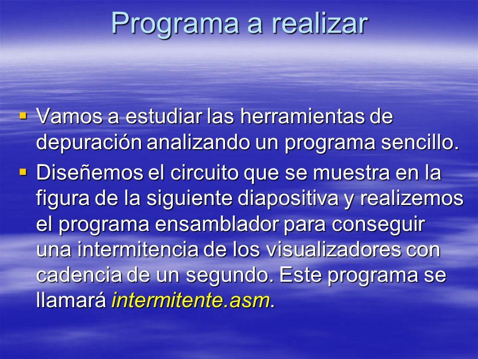 Programa a realizar Vamos a estudiar las herramientas de depuración analizando un programa sencillo.