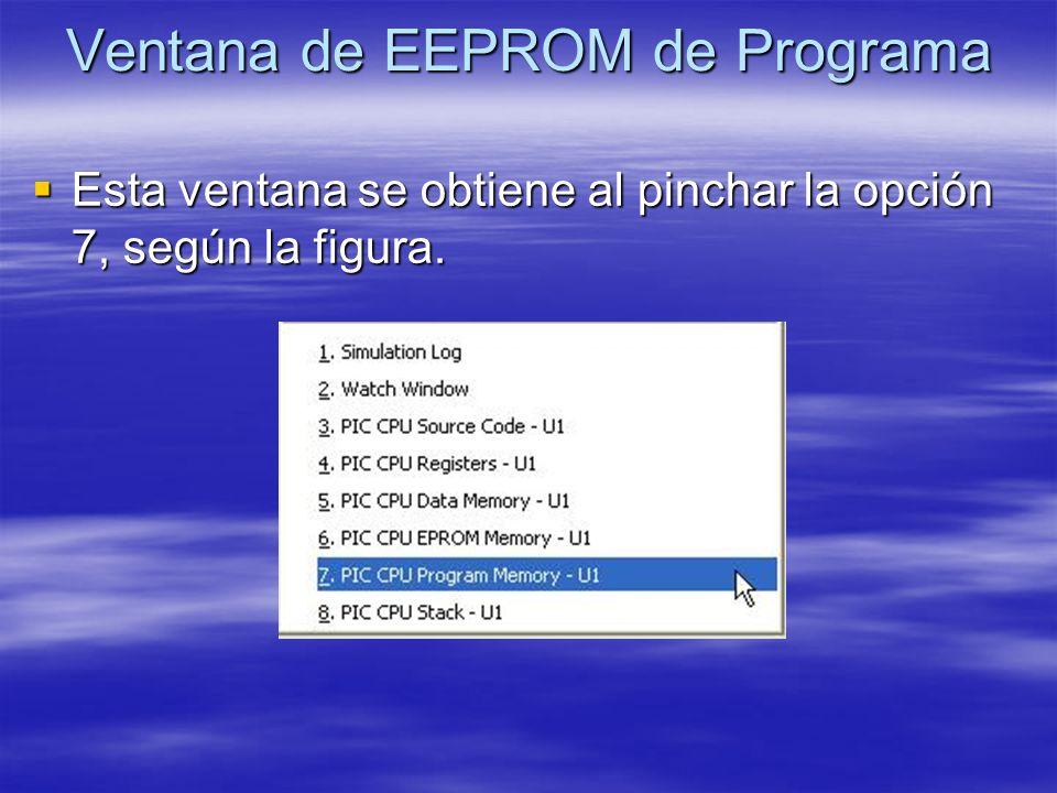 Ventana de EEPROM de Programa