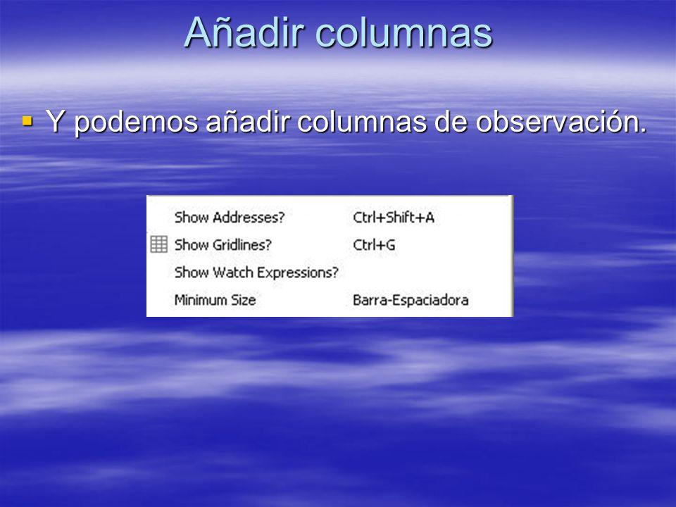 Añadir columnas Y podemos añadir columnas de observación.