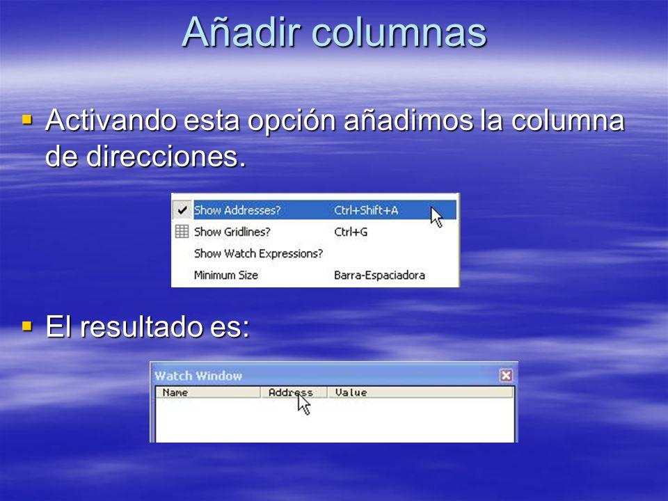 Añadir columnas Activando esta opción añadimos la columna de direcciones. El resultado es: