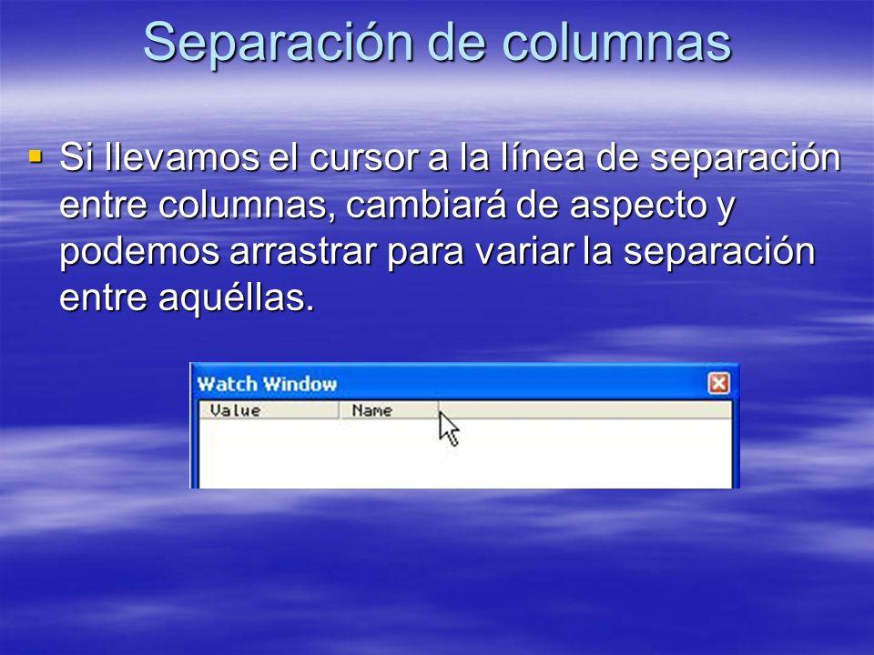 Separación de columnas