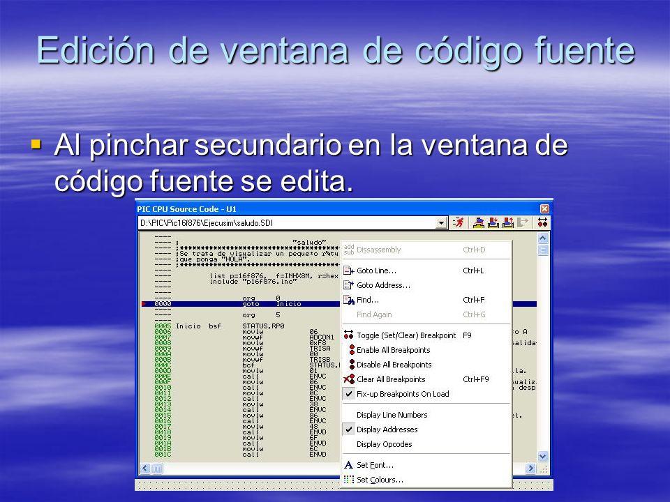 Edición de ventana de código fuente