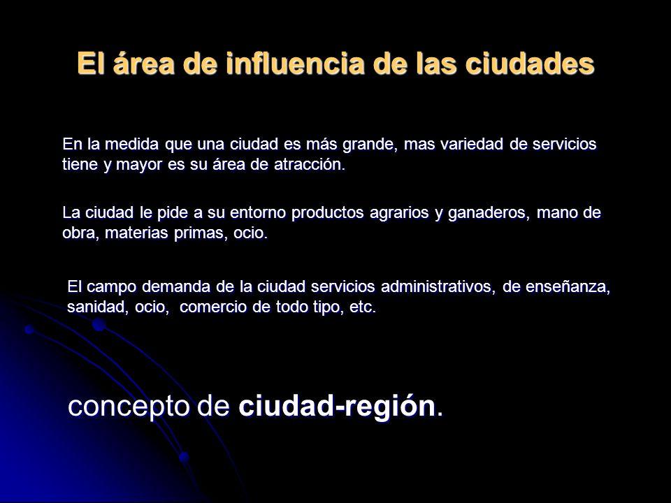El área de influencia de las ciudades