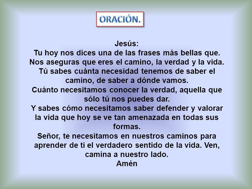 Oración. Jesús: Tu hoy nos dices una de las frases más bellas que. Nos aseguras que eres el camino, la verdad y la vida.