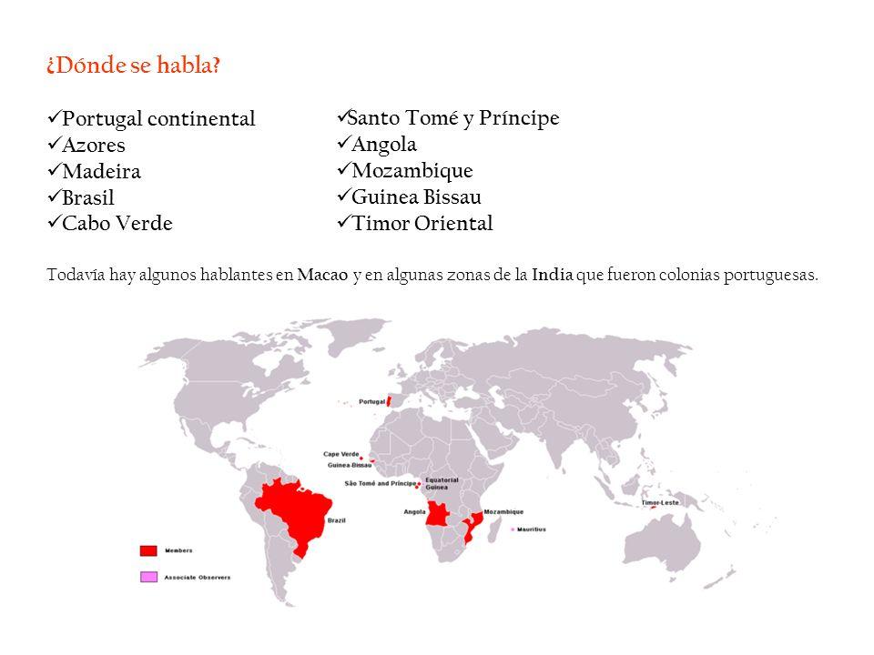 ¿Dónde se habla Portugal continental Azores Madeira