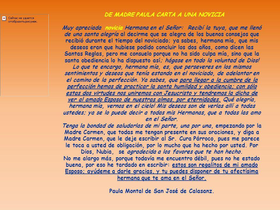 DE MADRE PAULA CARTA A UNA NOVICIA