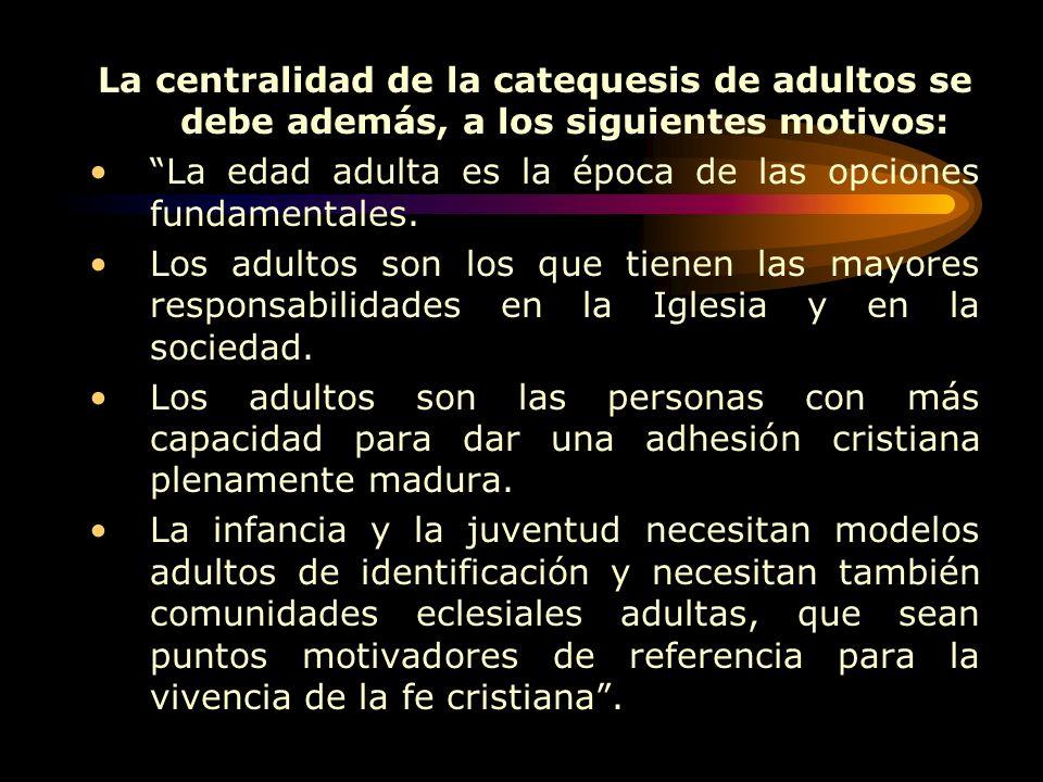 La centralidad de la catequesis de adultos se debe además, a los siguientes motivos: