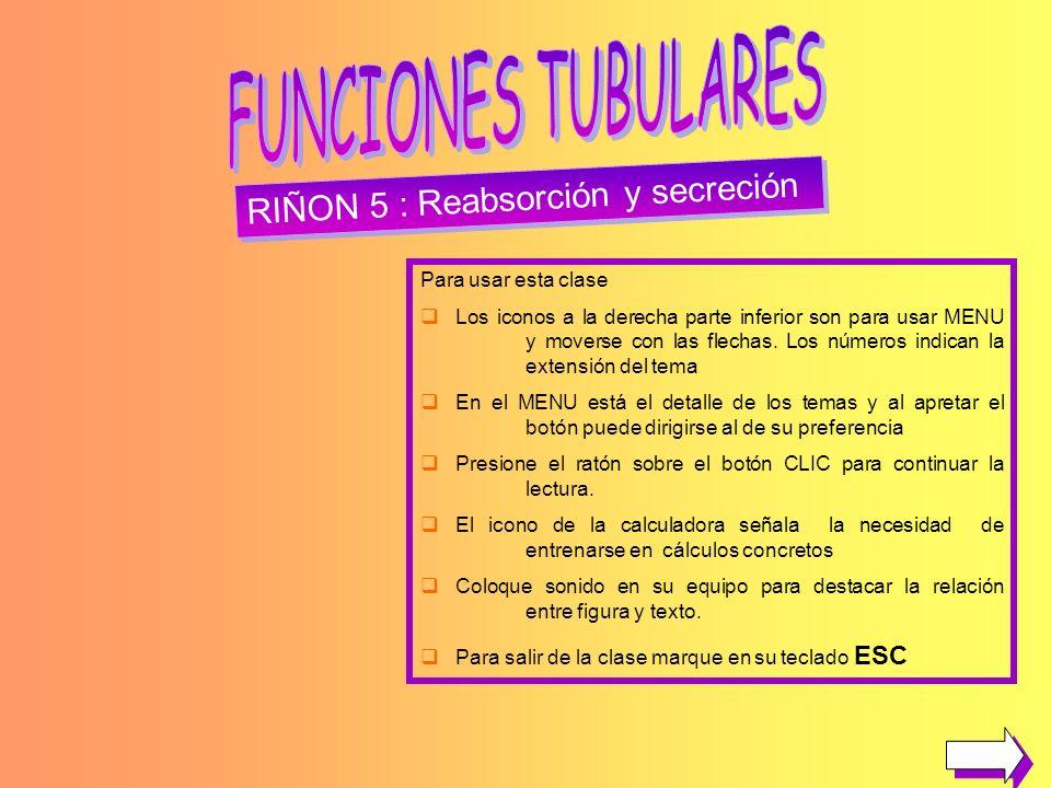 FUNCIONES TUBULARES RIÑON 5 : Reabsorción y secreción