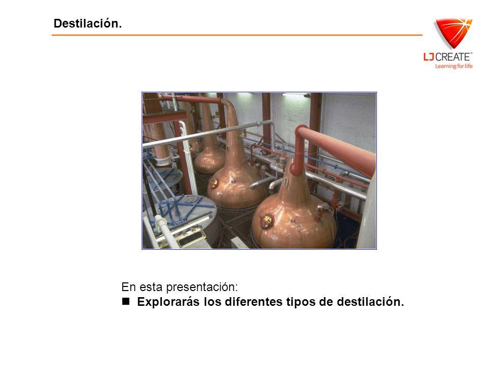 En esta presentación: Explorarás los diferentes tipos de destilación.