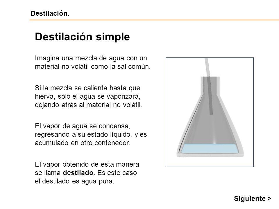 Destilación simple Imagina una mezcla de agua con un material no volátil como la sal común.