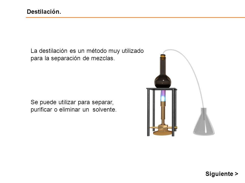 La destilación es un método muy utilizado para la separación de mezclas.