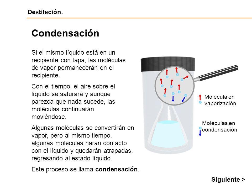 Condensación Si el mismo líquido está en un recipiente con tapa, las moléculas de vapor permanecerán en el recipiente.