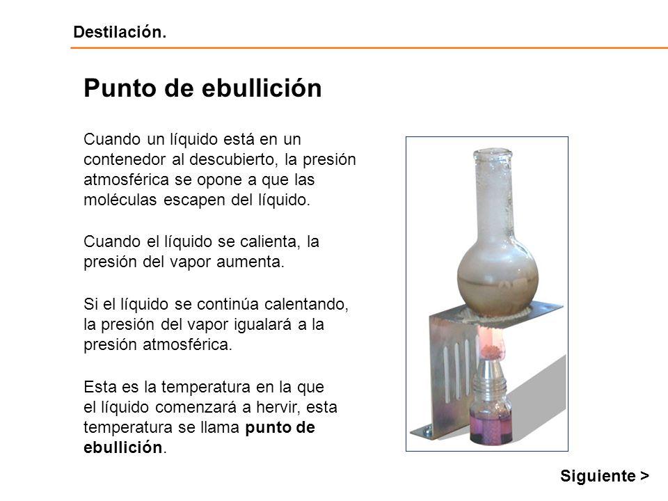 Punto de ebullición Cuando un líquido está en un contenedor al descubierto, la presión atmosférica se opone a que las moléculas escapen del líquido.