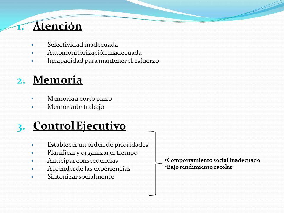 Atención Memoria Control Ejecutivo Selectividad inadecuada