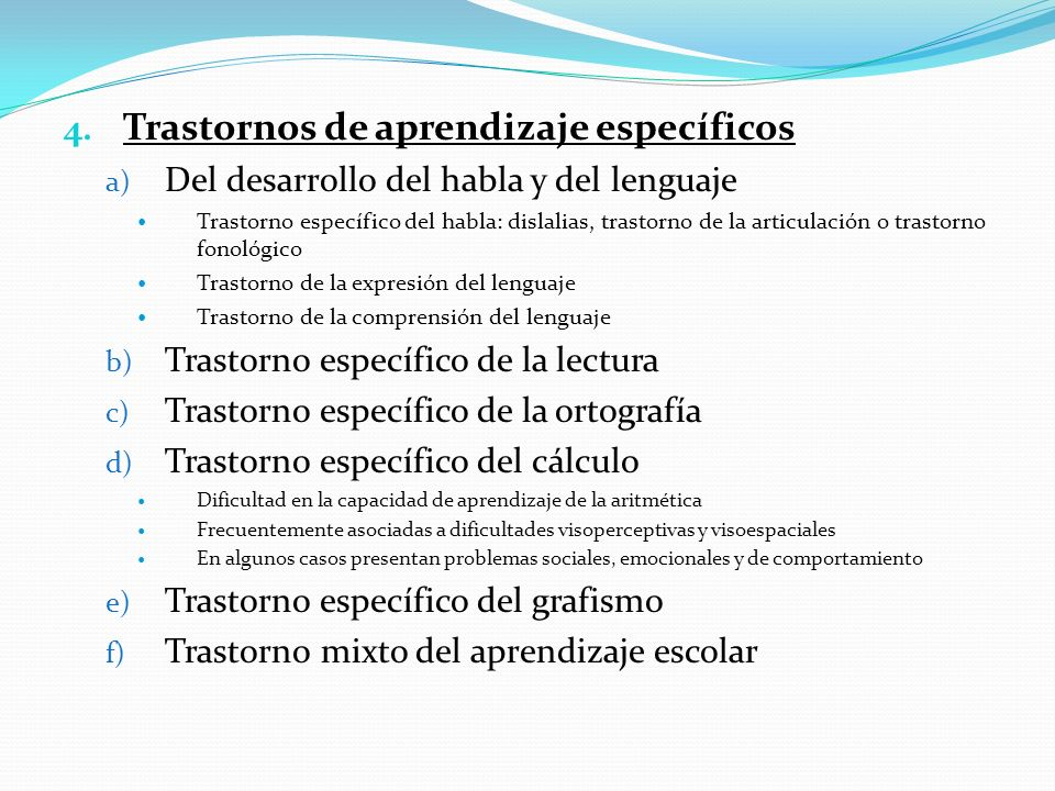 Trastornos de aprendizaje específicos