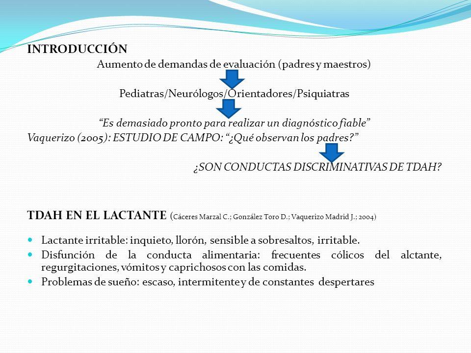 INTRODUCCIÓN Aumento de demandas de evaluación (padres y maestros) Pediatras/Neurólogos/Orientadores/Psiquiatras.