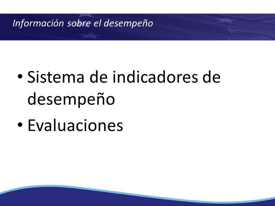 Sistema de indicadores de desempeño Evaluaciones