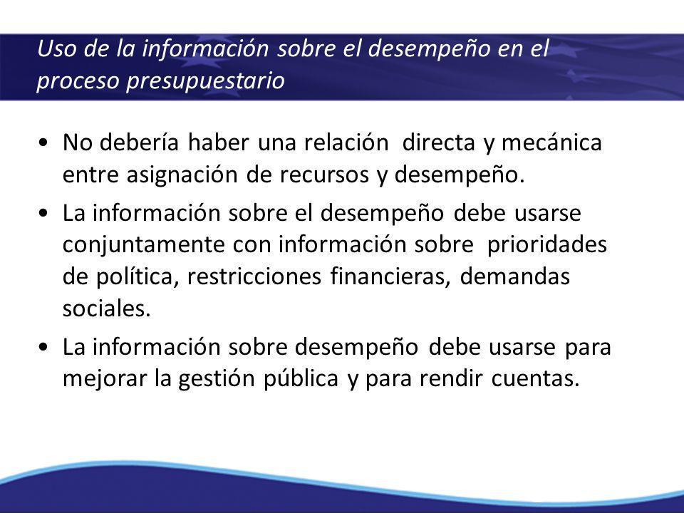 Uso de la información sobre el desempeño en el proceso presupuestario