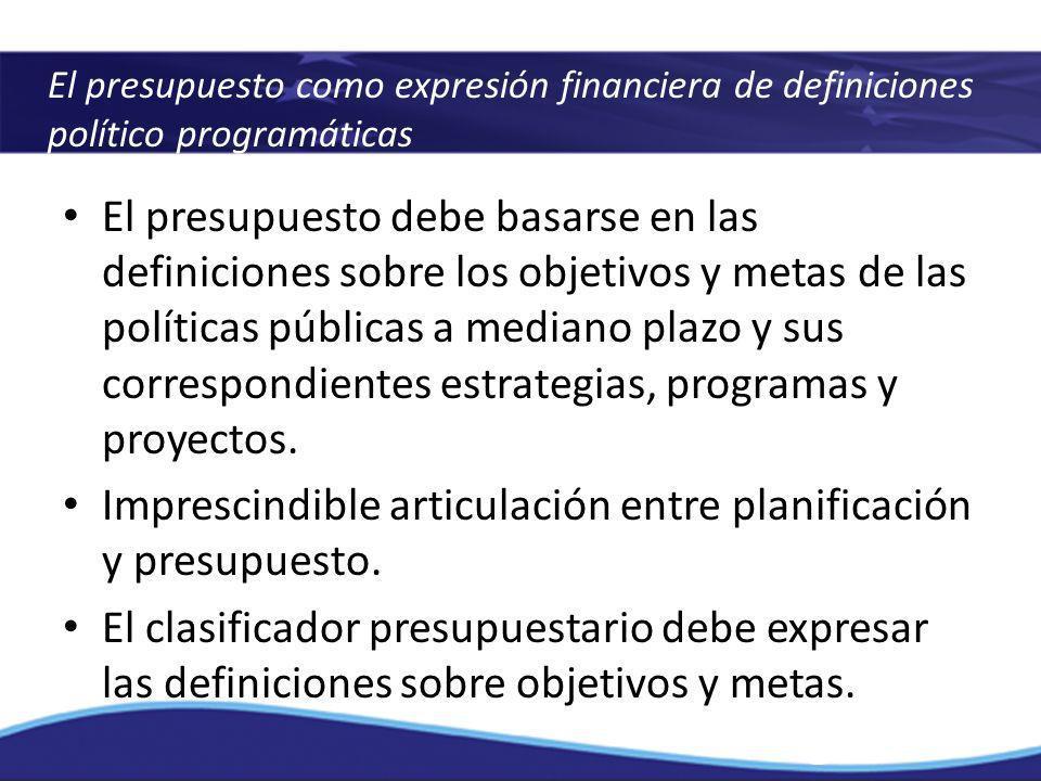 Imprescindible articulación entre planificación y presupuesto.