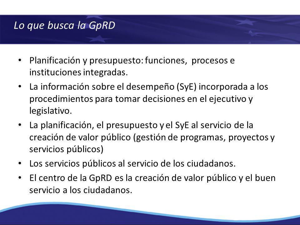 Lo que busca la GpRD Planificación y presupuesto: funciones, procesos e instituciones integradas.