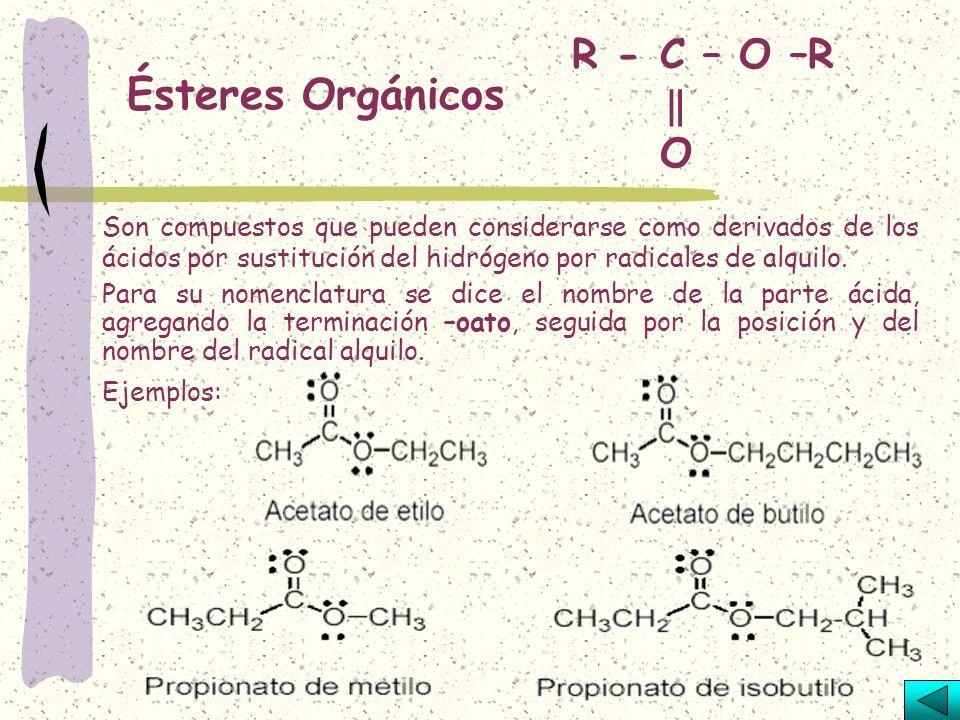 Ésteres Orgánicos R - C – O –R ‖ O