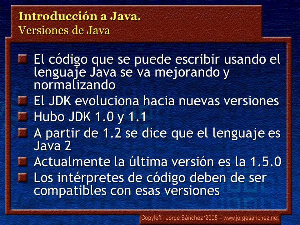 Introducción a Java. Versiones de Java