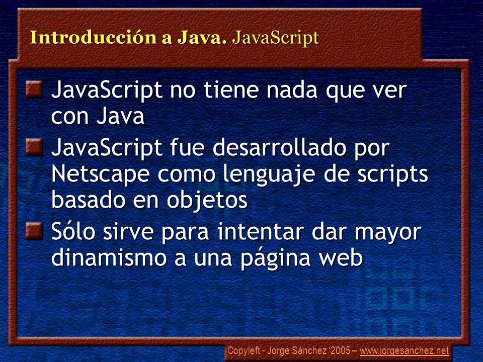 Introducción a Java. JavaScript