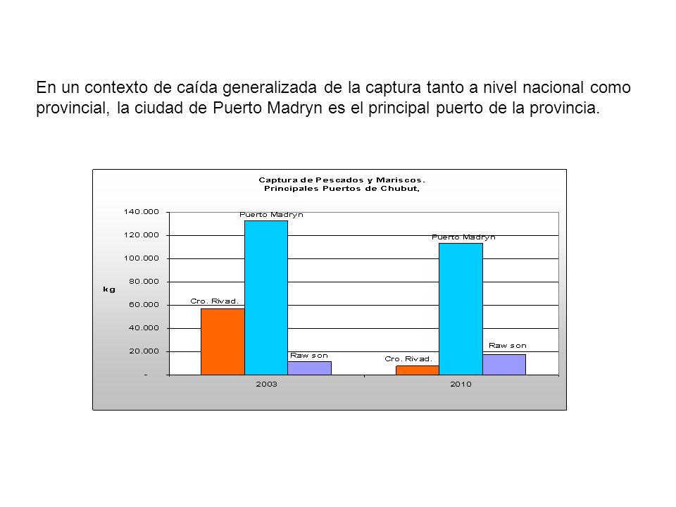 En un contexto de caída generalizada de la captura tanto a nivel nacional como provincial, la ciudad de Puerto Madryn es el principal puerto de la provincia.