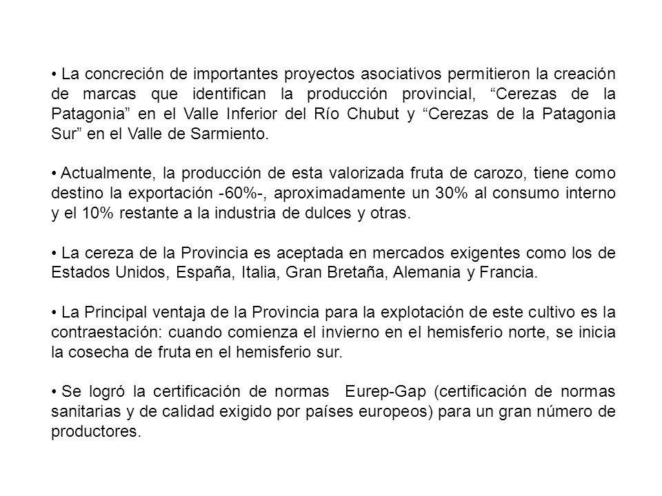 La concreción de importantes proyectos asociativos permitieron la creación de marcas que identifican la producción provincial, Cerezas de la Patagonia en el Valle Inferior del Río Chubut y Cerezas de la Patagonia Sur en el Valle de Sarmiento.