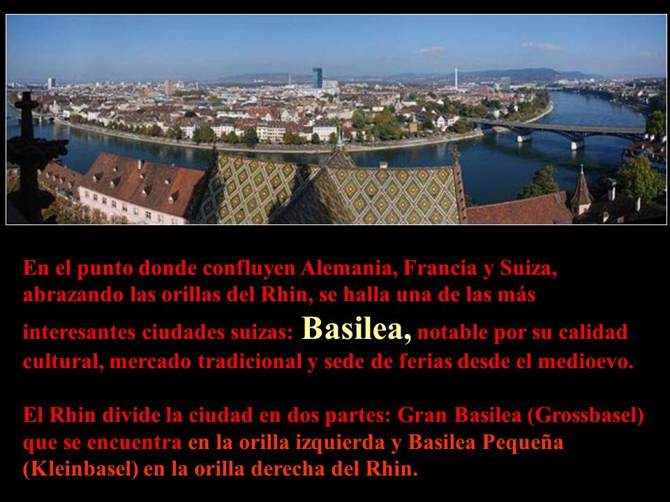 En el punto donde confluyen Alemania, Francia y Suiza, abrazando las orillas del Rhin, se halla una de las más interesantes ciudades suizas: Basilea, notable por su calidad cultural, mercado tradicional y sede de ferias desde el medioevo.