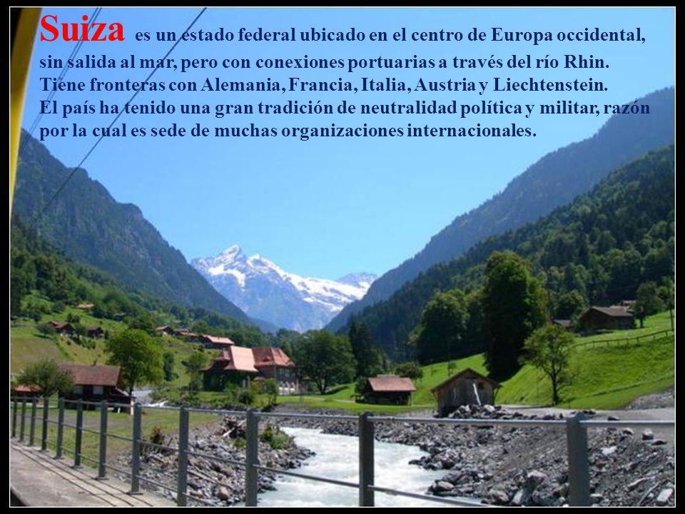 Suiza es un estado federal ubicado en el centro de Europa occidental, sin salida al mar, pero con conexiones portuarias a través del río Rhin. Tiene fronteras con Alemania, Francia, Italia, Austria y Liechtenstein.