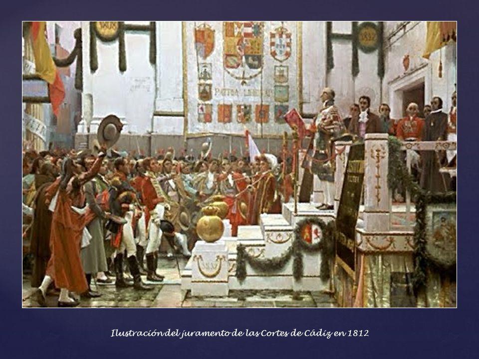 Ilustración del juramento de las Cortes de Cádiz en 1812