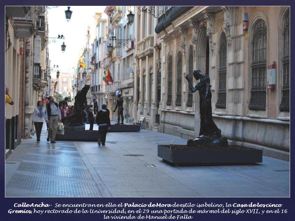 Calle Ancha - Se encuentran en ella el Palacio de Mora de estilo isabelino, la Casa de los cinco Gremios, hoy rectorado de la Universidad, en el 29 una portada de mármol del siglo XVII, y en el 16 la vivienda de Manuel de Falla