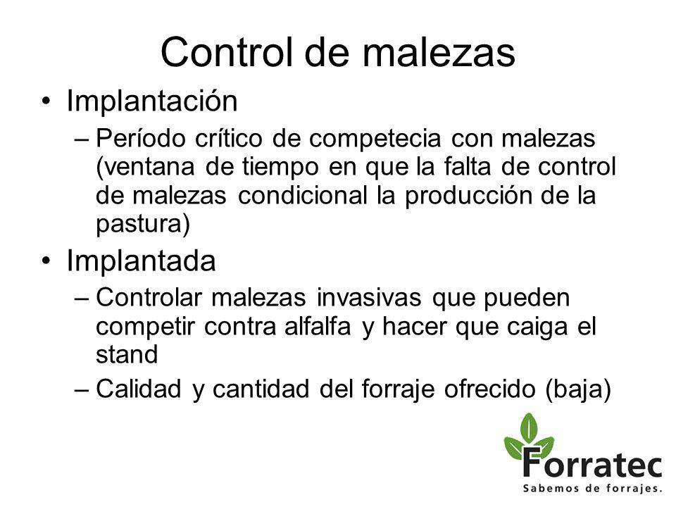 Control de malezas Implantación Implantada