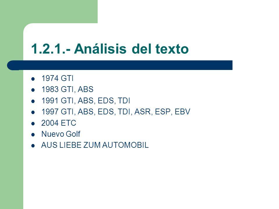 1.2.1.- Análisis del texto 1974 GTI 1983 GTI, ABS