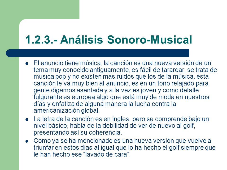 1.2.3.- Análisis Sonoro-Musical