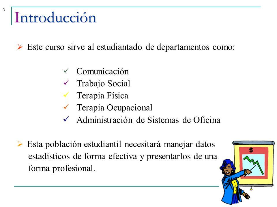 Introducción Este curso sirve al estudiantado de departamentos como: