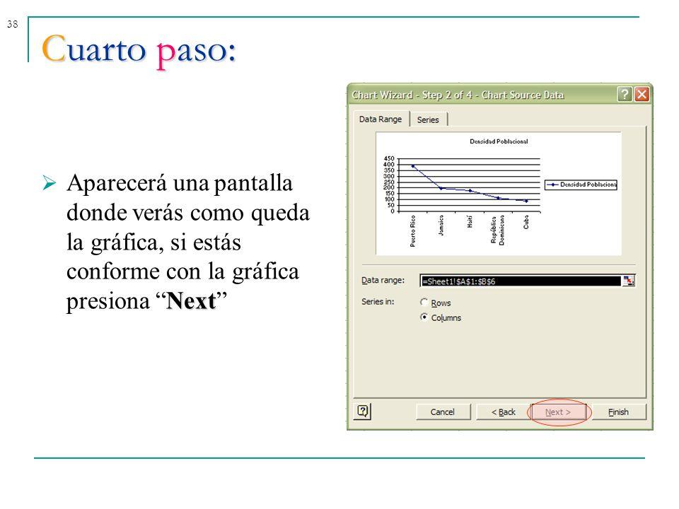 Cuarto paso: Aparecerá una pantalla donde verás como queda la gráfica, si estás conforme con la gráfica presiona Next