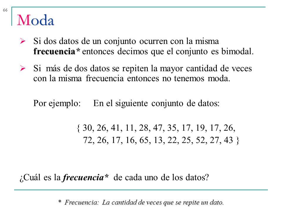 * Frecuencia: La cantidad de veces que se repite un dato.