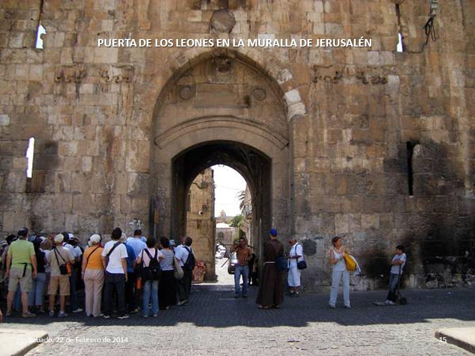 PUERTA DE LOS LEONES EN LA MURALLA DE JERUSALÉN