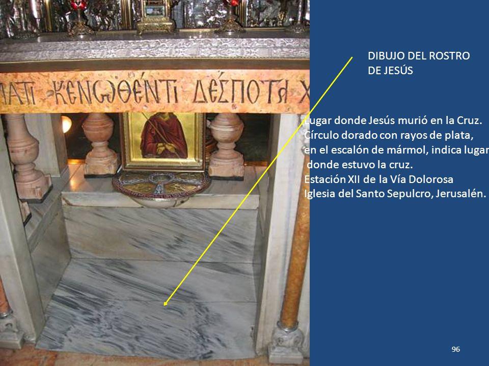 Lugar donde Jesús murió en la Cruz. Círculo dorado con rayos de plata,