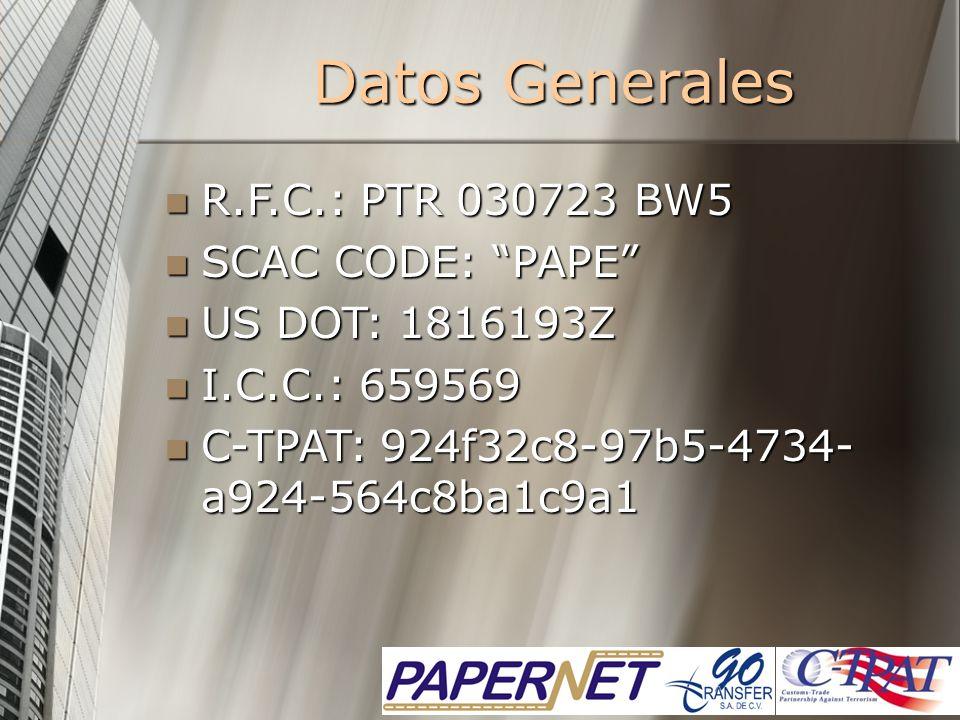Datos Generales R.F.C.: PTR 030723 BW5 SCAC CODE: PAPE