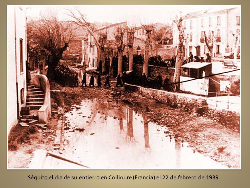 Séquito el día de su entierro en Collioure (Francia) el 22 de febrero de 1939