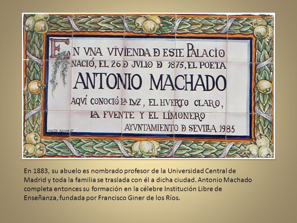 En 1883, su abuelo es nombrado profesor de la Universidad Central de Madrid y toda la familia se traslada con él a dicha ciudad.