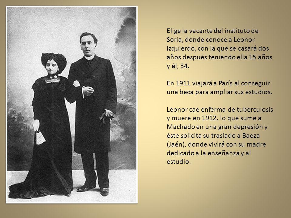 Elige la vacante del instituto de Soria, donde conoce a Leonor Izquierdo, con la que se casará dos años después teniendo ella 15 años y él, 34.
