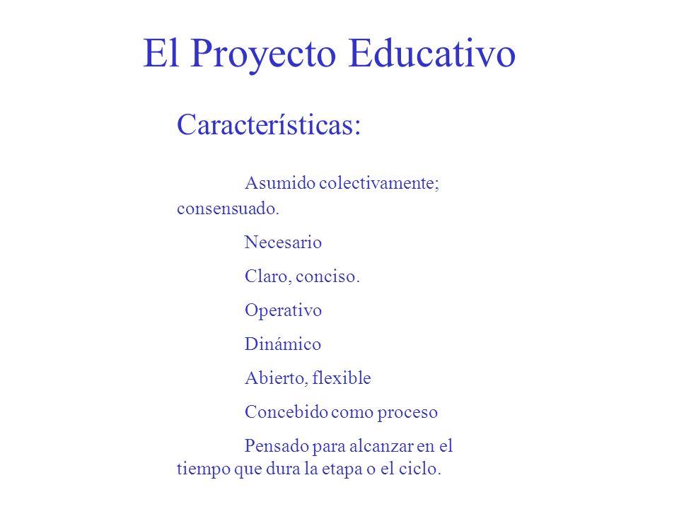 El Proyecto Educativo Características: