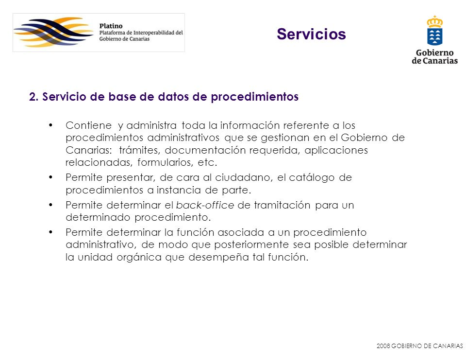 Servicios 2. Servicio de base de datos de procedimientos
